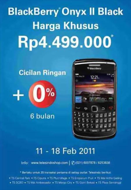 Promo harga special BlackBerry Onyx II di Telesindo Shop menggunakan kartu kredit HSBC.