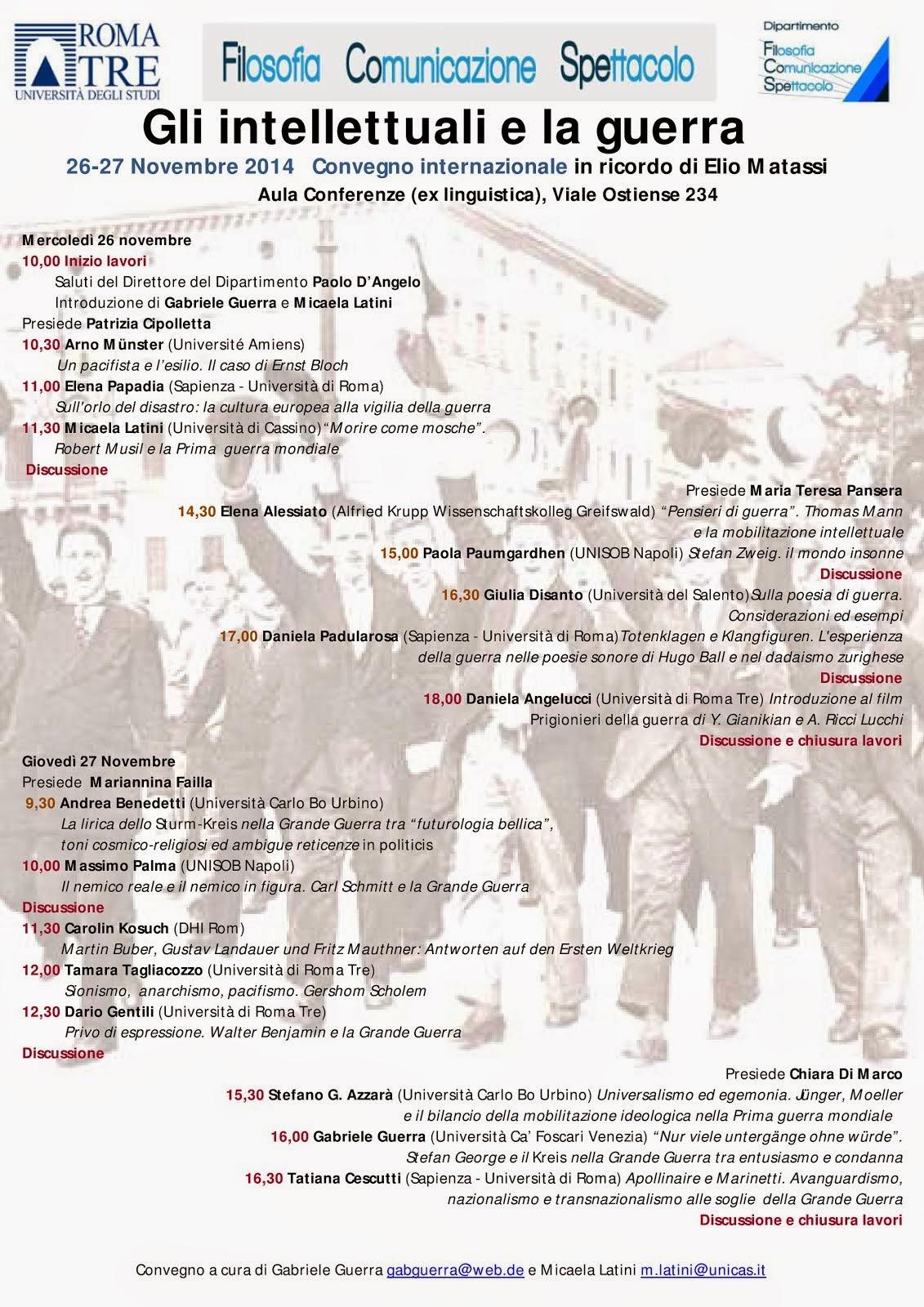 Gli intellettuali e la guerra. Un convegno in ricordo di Elio Matassi