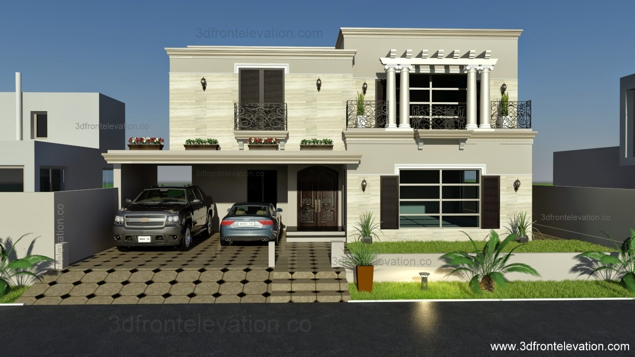 3d front 1 kanal spanish house design plan for Home garden design in pakistan