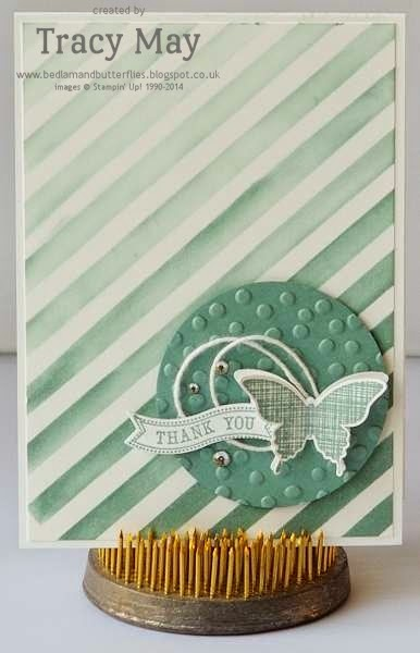 stampin up uk independent demonstrator Tracy May Dots & Stripes Decorative Mask Lost Lagoon