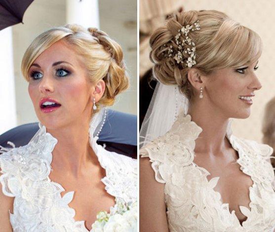 Свадебные прически на коротких волосах с фото7