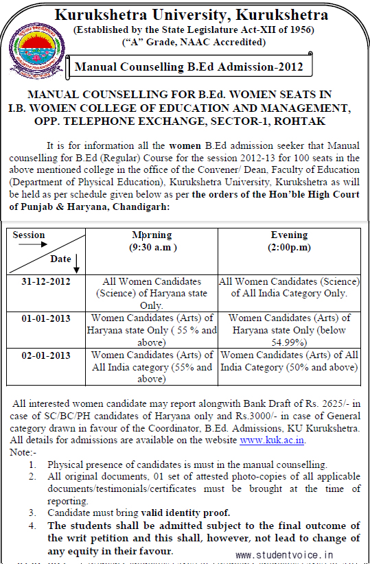 Haryana B.Ed Admission-2012-13- Counseling Notification