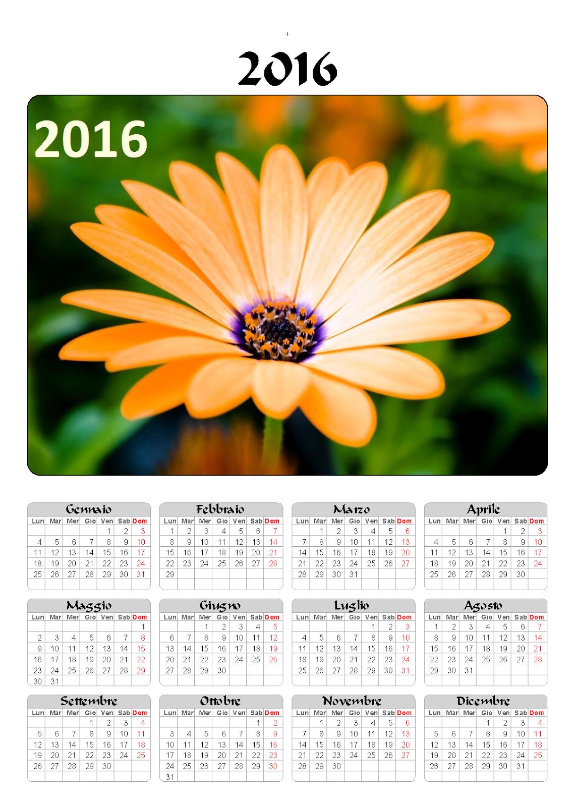 calendario 2016 - fiori