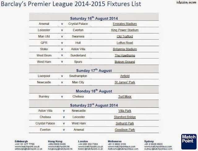 Kalender Jadwal Liga Inggris 2014-2015
