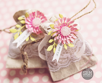 SRM Stickers Blog - Dolled up Burlap Bags! by Michele - #linenandlacebags #birthday #stickers #giftbag #DIY #sigh