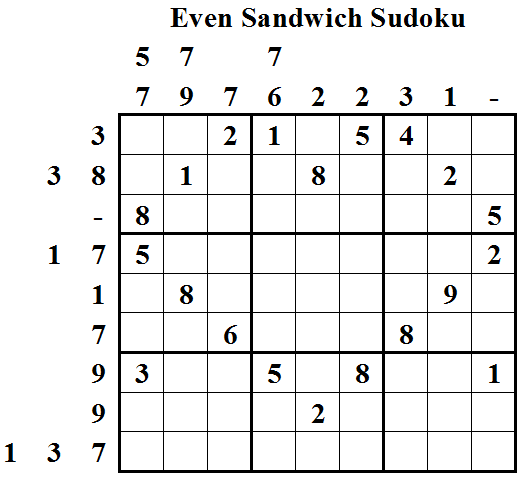 Even Sandwich Sudoku (Daily Sudoku League #6)