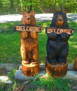 Handcrafted 36-inch chainsaw bears with welcome sign by carvnstitch on Etsy