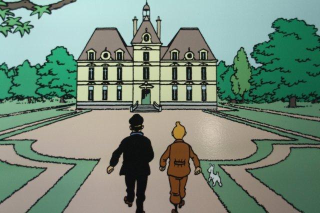 Tintin y el Capitan Haddock en el Castillo de Moulinsart, Castillo de Cheverny en el Valle del Loira