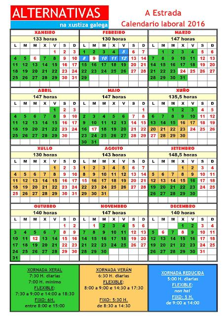 A Estrada. Calendario laboral 2016