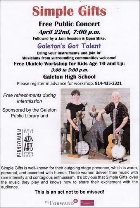 4-22 Simple Gifts Free Concert, Galeton