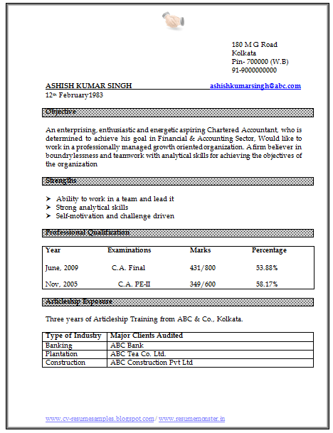 ... 10000 CV and Resume Samples with Free Download: CA Resume Format Doc