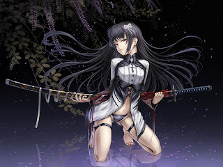 Sexy Samurai Girl Katana Anime HD Wallpaper Desktop PC Background 1627