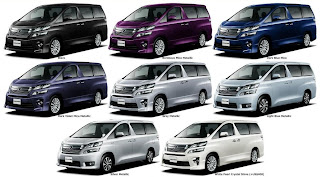 All eight color Toyota Vellfire