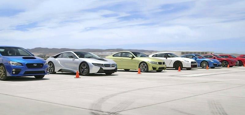 【動画】最新スポーツカー10台で超豪華なドラッグレースを開催!