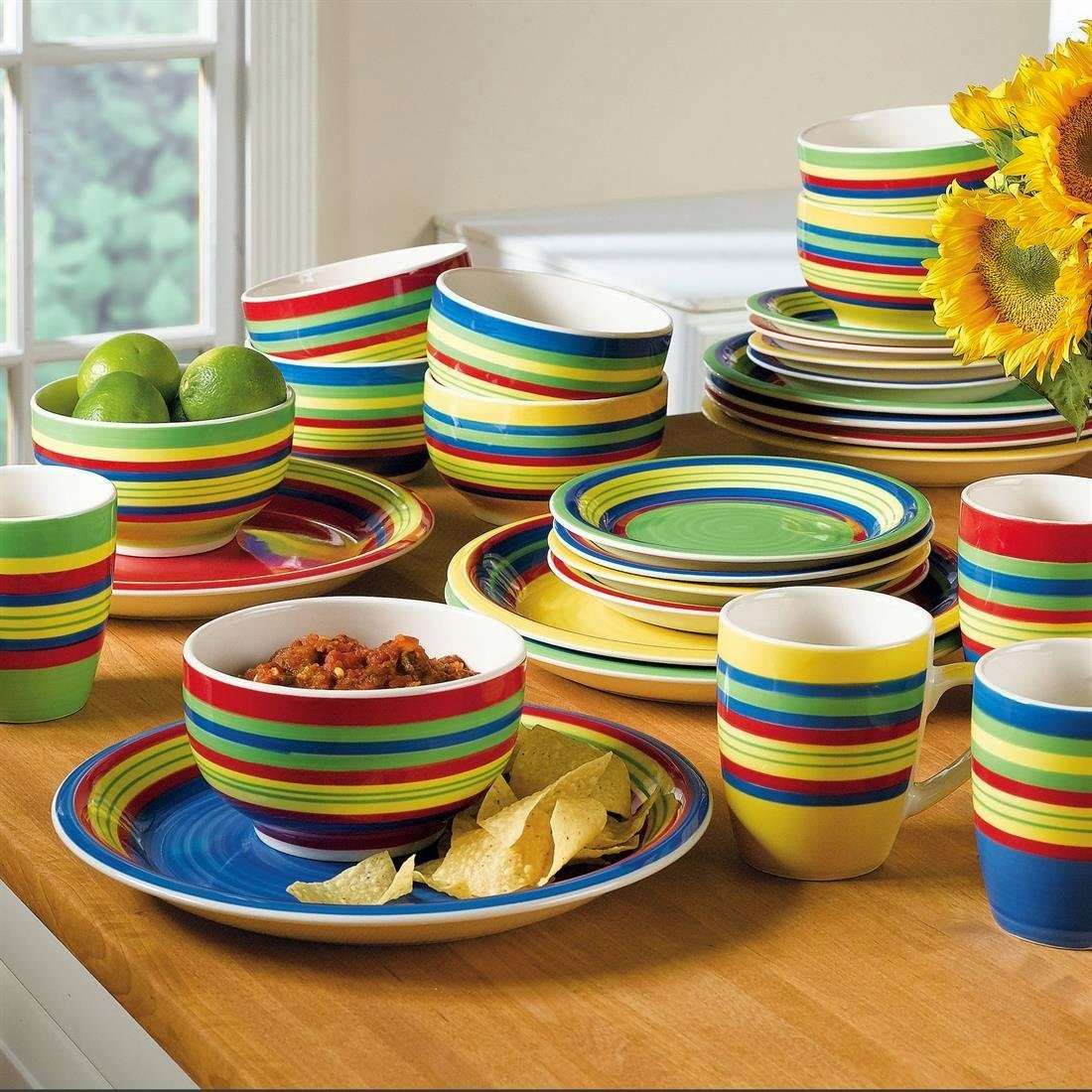 Brylanehome Santa Fe Hand-Painted Striped Stoneware Dinnerware & Mikasa French Countryside 45-Piece Dinnerware Set Service for 8 ...