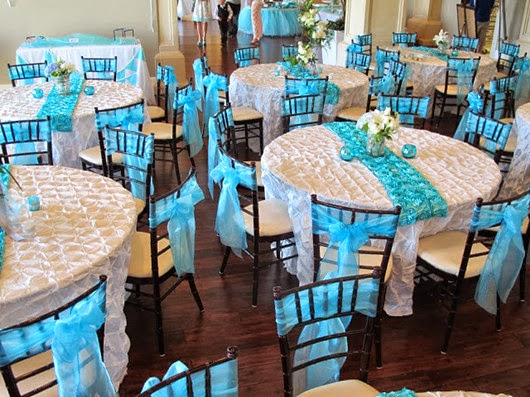 aqua wedding ideas reception table inspiration