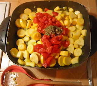 Squash in Frying Pan with Tomatoes on Top