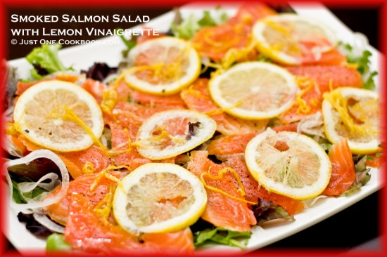 Delicious homemade Japanese Smoked Salmon Salad with Lemon Vinaigrette