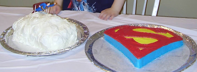 Superman Cloud Cake and Superman Logo Cake Together