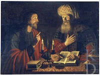 Jesus and Nicodemus in Conversation over open Holy Scripture