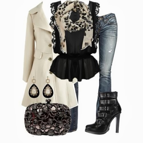 White long jacket, black blouse, scarf, jeans, high heel and hand bag for fall
