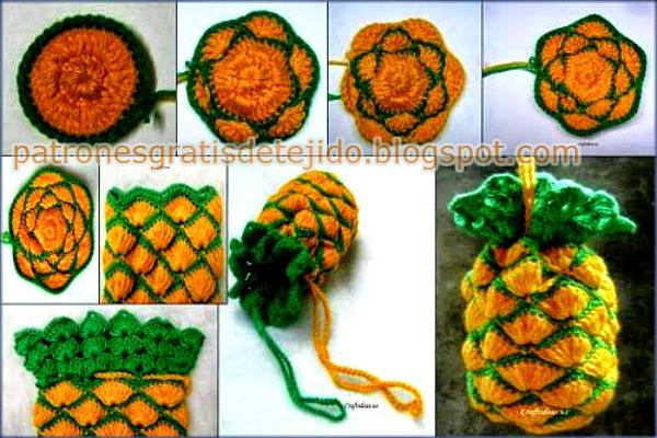 Ananá o piña tejida al crochet como bolsa