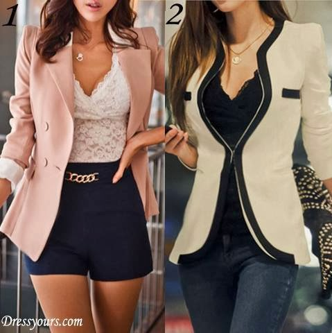 Pretty Korean Style Slim Large Size Long Blazer  and Cool Korean Style Slim Split Joint Coat