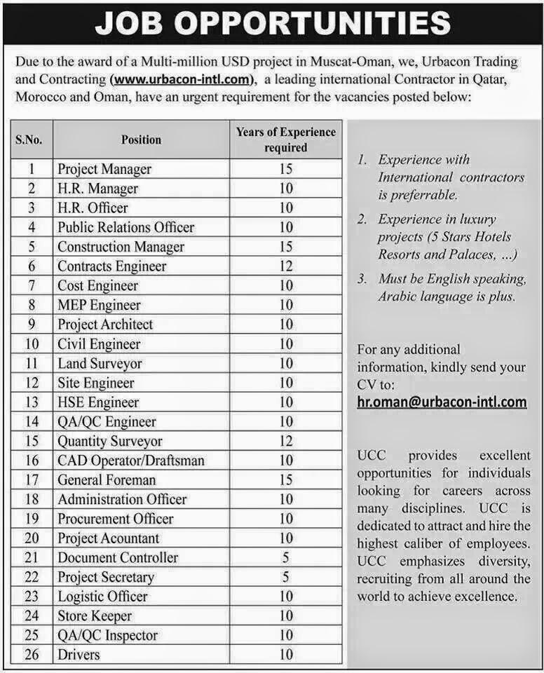muscat-oman job vacancies