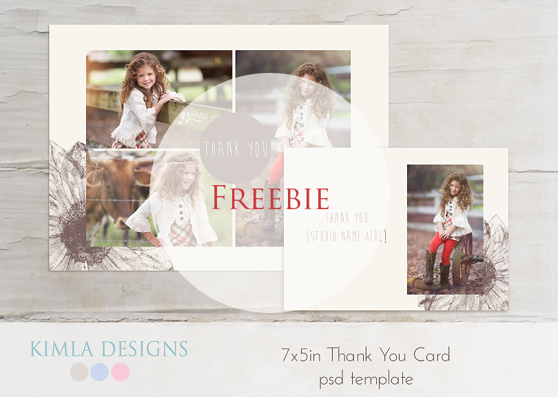 Free Thank You Card PSD template | freebie | kimla designs photography designs