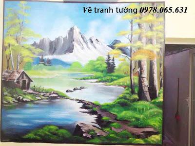 vẽ tranh tường phòng khách,vẽ tranh tường phong cảnh
