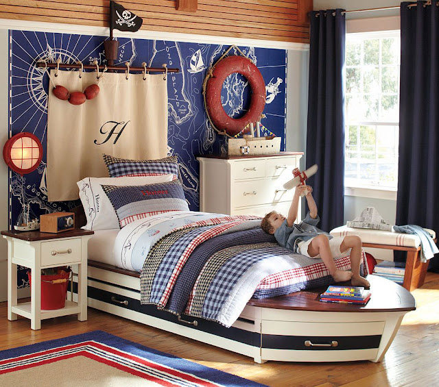 attractive bright color nautical bedroom decor with single bed and white bedside table