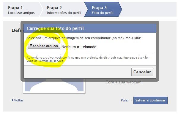Facebook - Tela de Envio de Foto