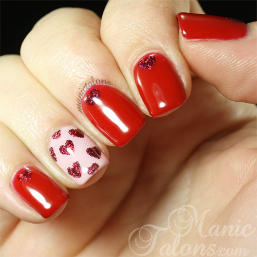 Valentine's Day Nails with Pink Gellac and ArtsyFartsy Crafts Glitter Hearts