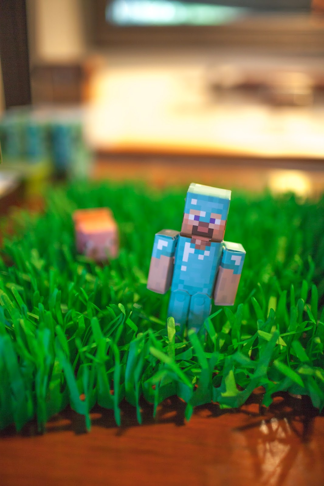 Papercraft table decorations for a Minecraft party