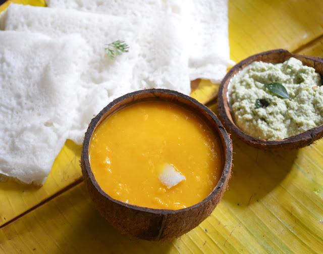 aamras, mango pudding, sweet dip, mango dip, indian dips, neer dosa, neer dose, panpolay