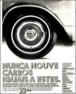 Ford;  1972; brazilian advertising cars in the 70s; os anos 70; história da década de 70; Brazil in the 70s; propaganda carros anos 70; Oswaldo Hernandez;