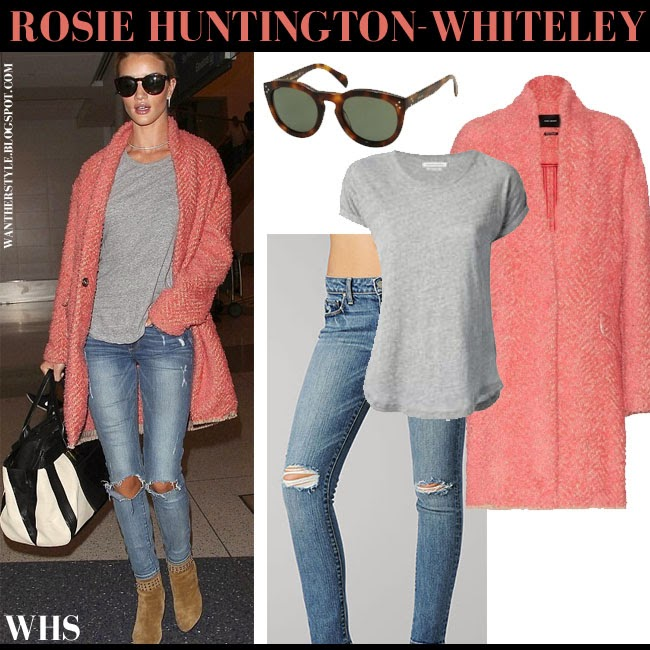 Rosie Huntington-Whiteley in pink wool Isabel Marant Gabriel coat, grey top, ripped knee jeans Paige Denim Skyline, camel suede ankle boots and black and white tote what she wore may 5 chic spring fashion