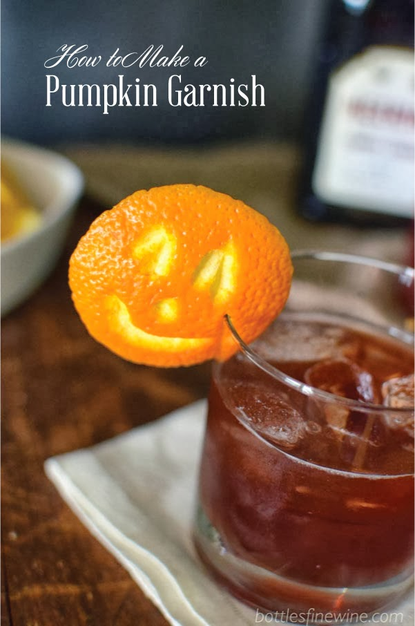 How to Make a Pumpkin Cocktail Garnish with an Orange Peel