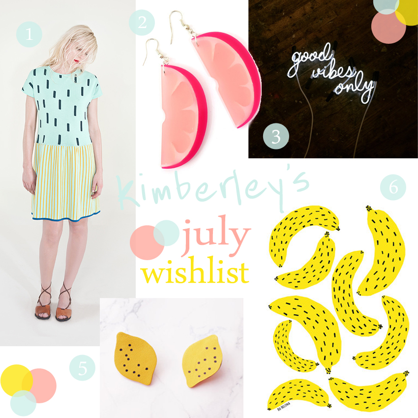 Kimberley's July Wishlist, Summer Wishlist, Fashion Wishlist, fashion bloggers, independant design, quirky designers, Royal Caballito, Swank Jewellery, Hannah Zakari, Marcus Conrad Poston, Benu Shop, Bo Helina, fruity accessories, neon lights