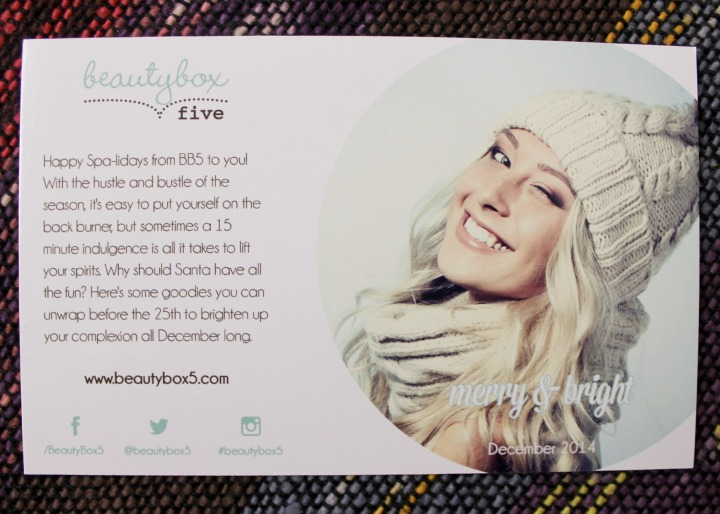 Beauty Box 5 December 2014: Merry & Bright info card