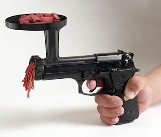 funny weapons fail picture meat grinder handgun