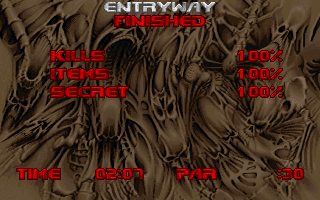 doom 2 level 1 entryway finished victory screen