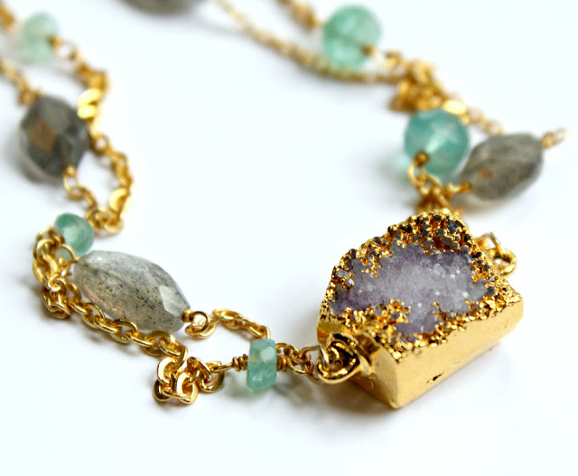 gold soaked amethyst, labradorite, and apatite gemstone necklace - catherine masi