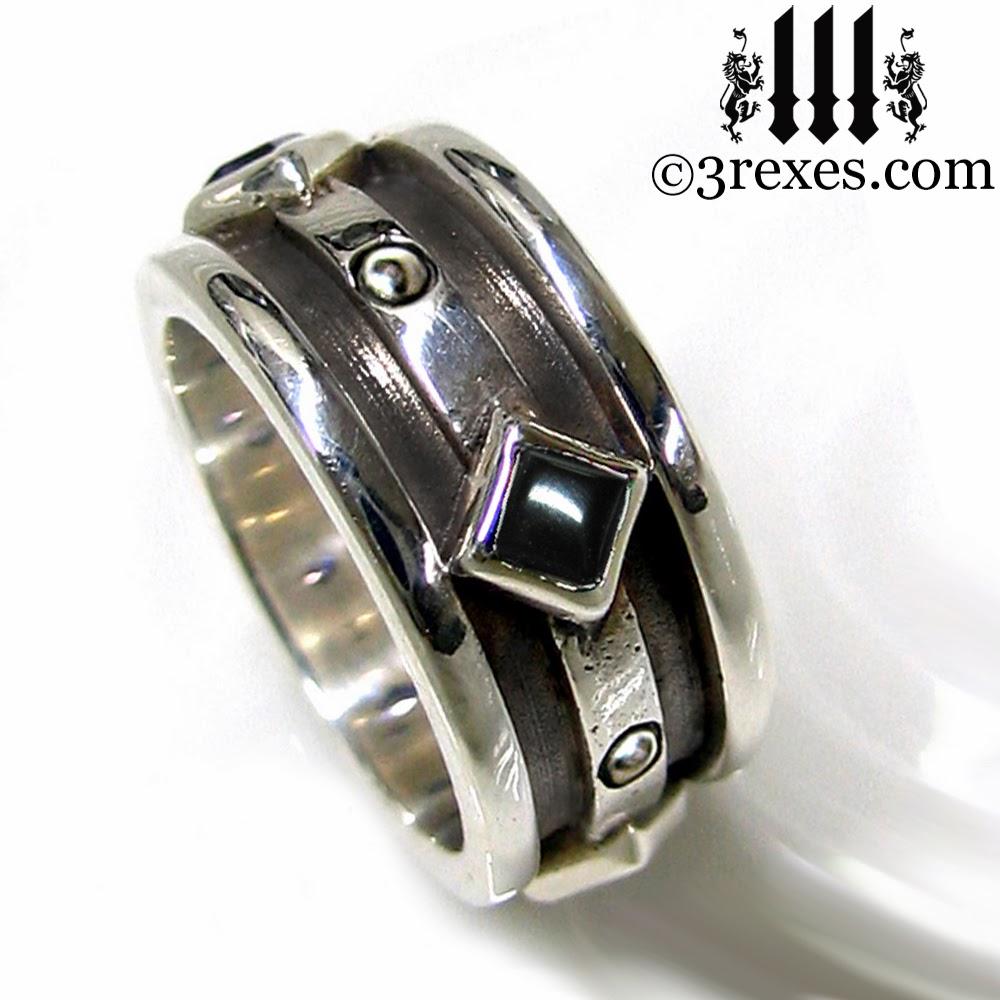 mens silver gothic wedding ring with black onyx - Gothic Wedding Ring