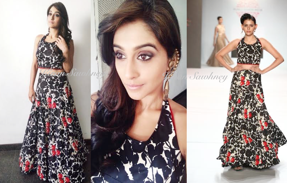 South Actress Regina Cassandra in Designer Ulka Bafna Vohra and Suhani Pittie