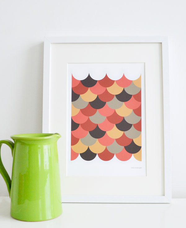 Scallop art print. Printed with vibrant and crisp archival inks (giclee) on a smooth yet lightly textured fine art paper.