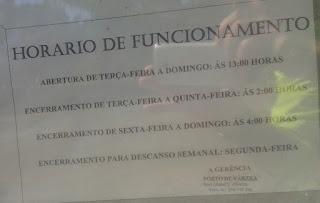 Horário do Bar/restaurante Porto Várzea