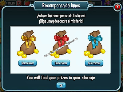 imagen de la recompensa del lunes de monster legends