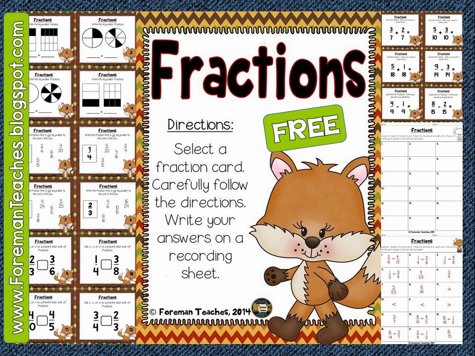 http://www.teacherspayteachers.com/Product/Fractions-Task-Cards-Free-1624360