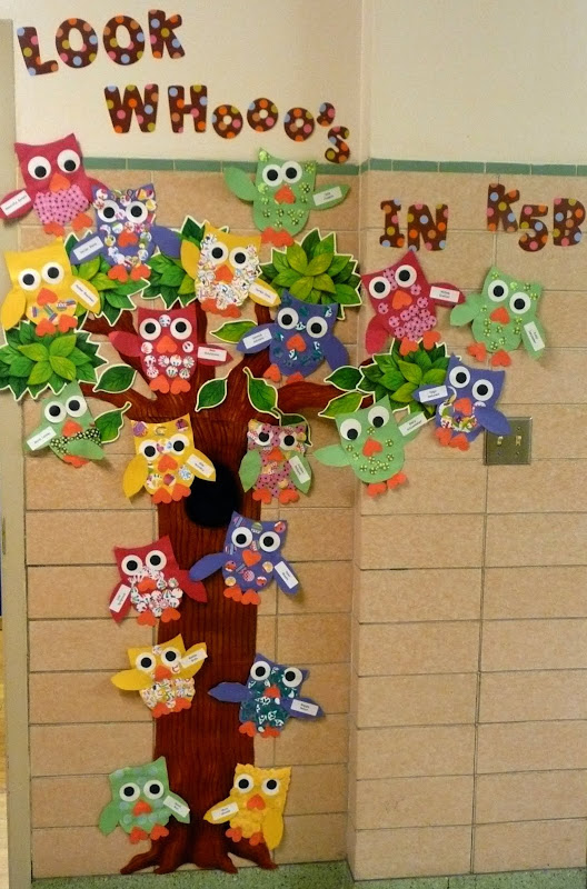 added my owls to the outside wall. My students from last year made  title=